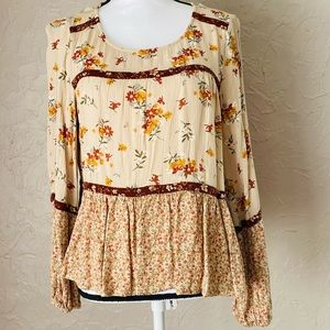 3/$25 Maurices yellow/brown medium floral peasant top